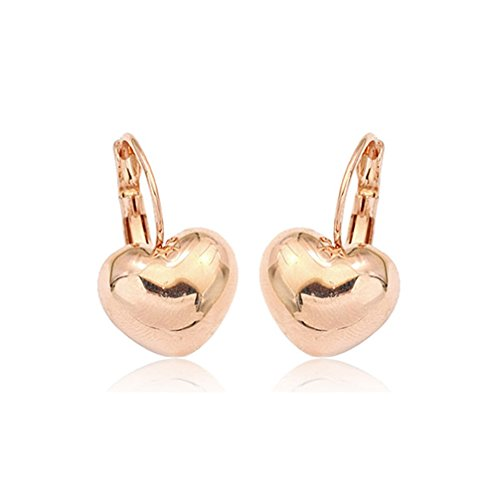 (Simple Smooth Heart Leverback Earrings Fashion Jewelry for Women (Gold Plated))