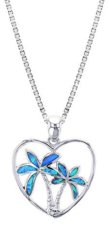 Opal Palm Tree - Sterling Silver Created Blue Opal Heart Palm Tree Necklace Pendant With 18