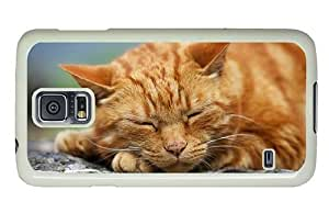 Hipster pretty Samsung Galaxy S5 Case sleeping kitty hd PC White for Samsung S5