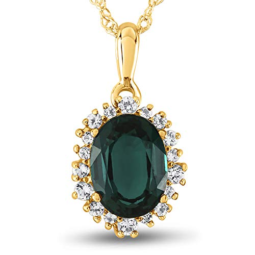 Created Pendant Oval Emerald - Finejewelers 10k Yellow Gold Oval Created Emerald with White Topaz accent stones Halo Pendant Necklace