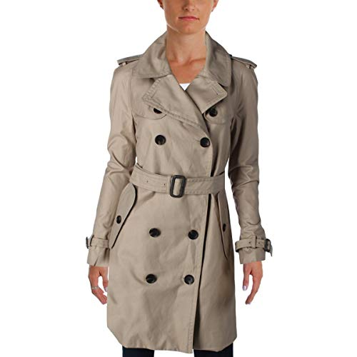 Coach Womens Twill Double Breasted Trench Coat Tan 12