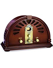ClearClick Classic Vintage Retro Style AM/FM Radio with Bluetooth - Handmade Wooden Exterior