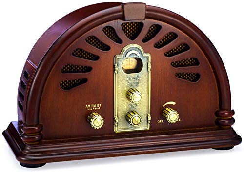 ClearClick Classic Vintage Retro Style AM/FM Radio with Bluetooth - Handmade Wooden ()
