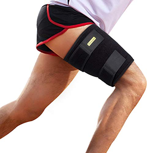Thigh Support, Thigh Brace Hamstring Wrap Adjustable Compression Sleeve with Anti-Slip Silicone Strips for Men and Women Prevent Leg Sprains, Strains, Tendonitis Injury, Promote Recovery ()
