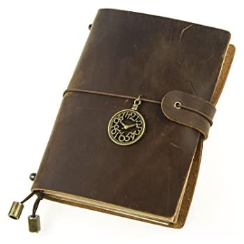 UNIQUE HM&LN Genuine Leather Journal Notebook, Refillable, Handmade Vintage, Fountain Pen Users, Perfect for Writing, Personalized Gift