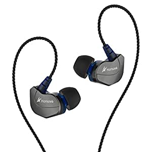 Honstek In-Ear Earbud Headphones X6, Mic Control and Noise Isolating Earphones, iPhone and Android Compatible (gray/blue)