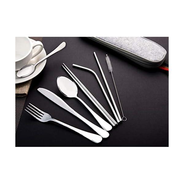 EvaCrocK Travel Utensils | 9-Piece Portable Camping Silverware Set Including Knife Fork Spoons Straws Chopsticks… 6