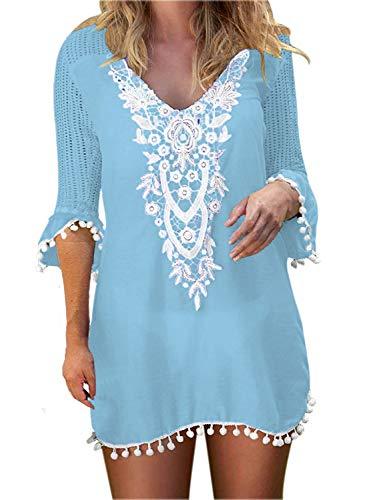 BLUETIME Cover Ups for Swimwear Women's Lace Crochet Chiffon Beach Swimsuit Coverups Tunic (XXL, Light Blue)