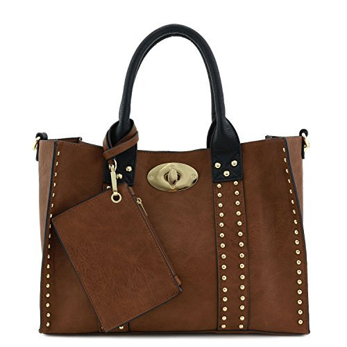 3pc Set Studded Turn Lock Tote Bag with Crossbody (Brown/Black)