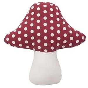 Con forma de seta rojo y blanco lunares 100% algodón 26cm Cojín con relleno
