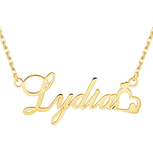 EVER2000 Custom Name Necklace, 18K Gold Plated Nameplate Personalized Jewelry Gift for Women -