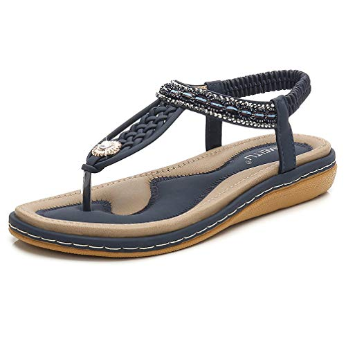 DolphinBanana Women's T-Strap Flat Sandals, Glitter Rhinestones Thong Flip Flops, Navy Blue Simple Summer Bohemian Low Top No Heel Shoes, Shiny Gem, For Dressy Casual Jeans Daily Wear and Beach - Low Blue Thong Sandals