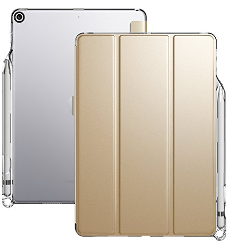 iPad 9.7 Case, Poetic Lumos X Flexible Soft Transparent Ultra-Thin TPU Slim-Fit Trifold Stand Folio Smart Cover [Auto Wake/Sleep][Pencil Holder] for Apple iPad 9.7 (6th Gen 2018) Champion Gold/Clear