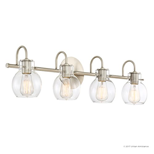 Luxury Vintage Bathroom Light, Large Size: 9''H x 30.5''W, with Industrial Style Elements, Floating Glass Design, Aged Nickel Finish and Clear Glass, Includes Edison Bulbs, UQL2042 by Urban Ambiance by Urban Ambiance (Image #7)