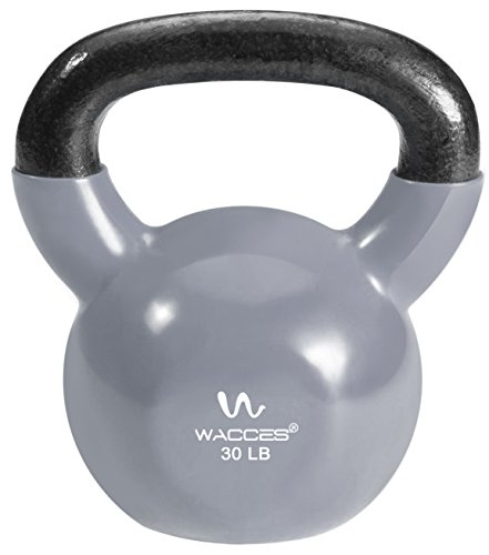 Wacces Single Vinyl Dipped Kettlebell for Croos Training, Home Exercise, Workout 30LB