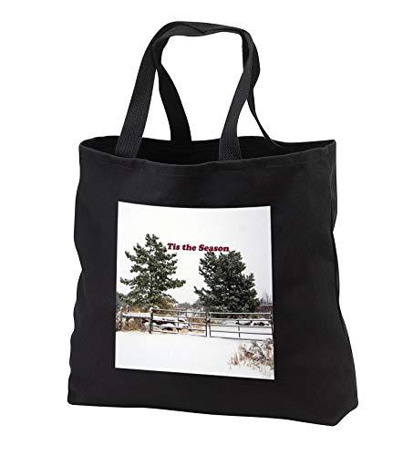 Jos Fauxtographee- Tis the Season Snow Scene - Tis the Season written on a white sky by pine trees on a snowy ground - Tote Bags - Black Tote Bag JUMBO 20w x 15h x 5d (tb_288935_3)