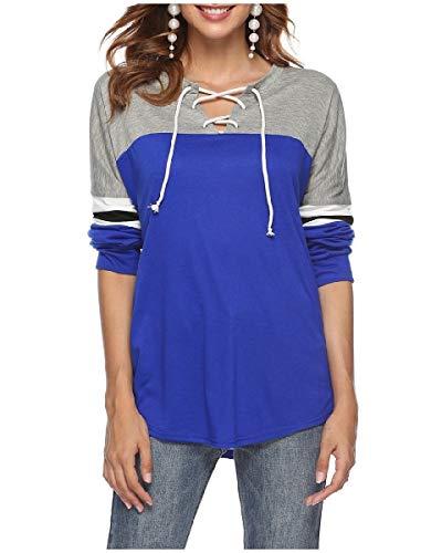 DressUWomen Straps Color Block Oversize Drawstring Tees Blouse Blue S ()