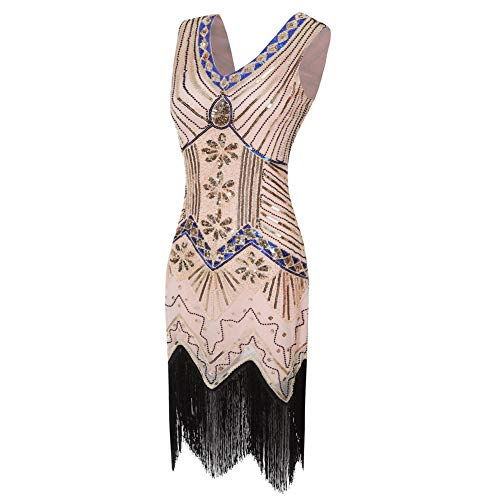 black Pink Delle Frange Abito 1920 Donne Da V Per Neck Luckgxy Gatsby s Vestito Tema Sera Prom qaw86Rqt