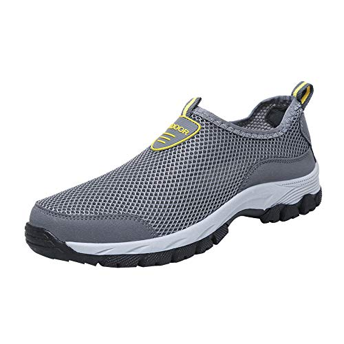 haoricu Men's Athletic Running Shoes Casual Walking Sneakers Tennis Baseball Outdoor Mesh Shoes Gray