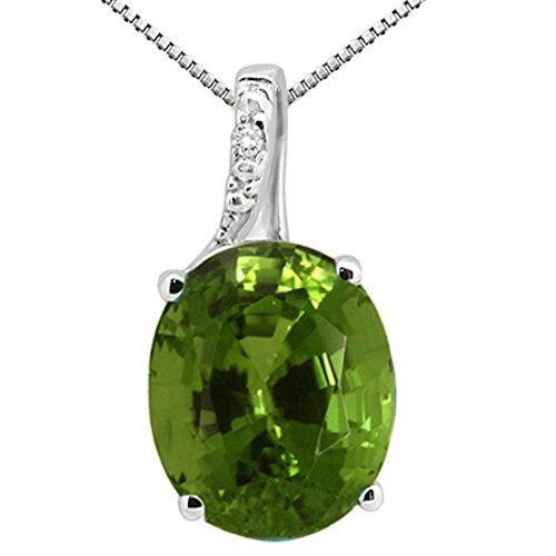 2.50Ct Oval Shaped Peridot and Diamond Pendant in 10K White Gold ()