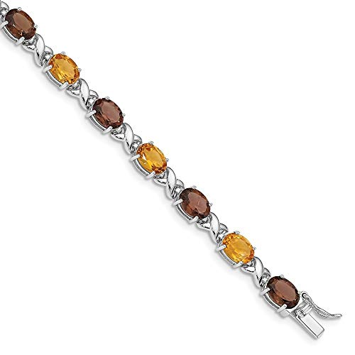 925 Sterling Silver Smoky Quartz Yellow Citrine White Topaz Bracel Bracelet Gemstone Fine Jewelry Gifts For Women For Her