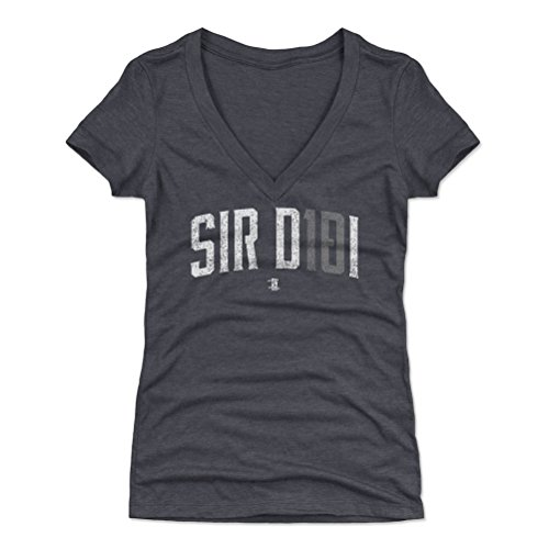 500 LEVEL Didi Gregorius Women's V-Neck Shirt Medium Tri Navy - New York Baseball Women's Apparel - Didi Gregorius Sir Didi W WHT