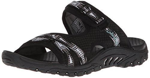 Reggae Webbing Sandal Fizzle Skechers Black Women's Adjustable Slide P1Wn5H