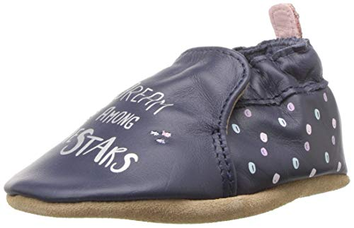 Robeez Girls' Soft Soles Crib Shoe, Dream Among The Stars Navy, 6-12 Months M US Infant