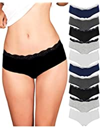 071828147c Womens Lace Underwear Hipster Panties Cotton Spandex - 10 Pack Colors and  Patterns May Vary