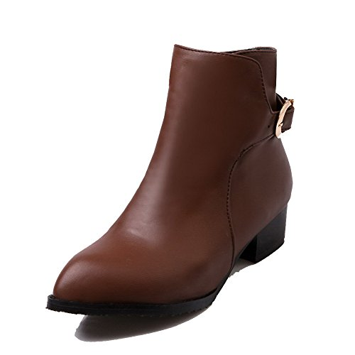 Top Low Brown Pointed Zipper Allhqfashion Toe Heels Closed Boots Women's Low Solid O7qw5EHx