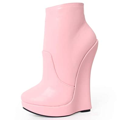 22068073734 JiaLuoWei Women Ankle Boots High Wedge Heel Platform Solid Zip Round Toe  Sexy Fetish Boots 18cm