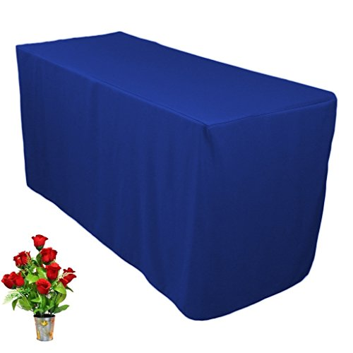OWS 8' Feet 8 Foot Fitted Rectangle Table Cloth Tresale Table Cover Trade show Booth DJ 8 ft Blue - 1 Pc