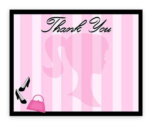 Invitation Barbie Birthday Card - POP parties Glamour Girl Party Thank You Cards - 10 Thank You Cards + 10 Envelopes