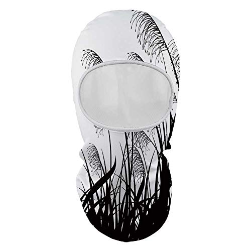 (YOLIYANA Black and White Durable Face Gini,Silhouette of Bushes Wild Plants Wheat Field Twiggy Herbs Seasonal Picture for Outdoor,8.6