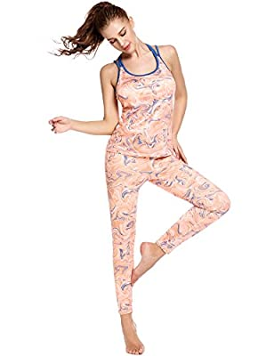 Ekouaer Sports Wear Womens Fitness Tights Yoga Bra Pants Leggings Tracksuit Outfit