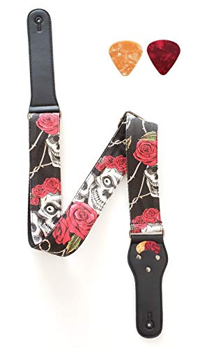 BuyAlegria Guitar Strap Skull And Rose For Electric Acoustic Guitar And Bass Guitar Shoulder Strap Belt Perfect Fit For Any Guitar Heavy Duty + Bonus Free 2 Picks (Colors Vary)