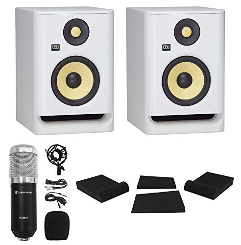 "(2) KRK ROKIT RP5 G4 5"" Studio Monitor DSP Speakers White Noise Edition+Mic+Pads"