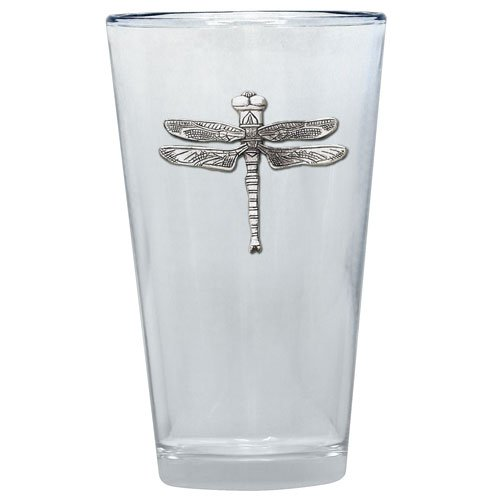 (1pc, Pewter Dragonfly Pint Glass)