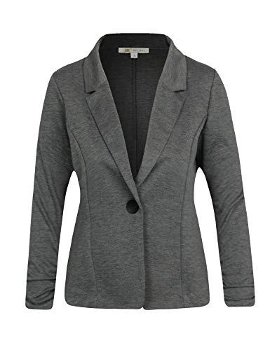 (Michel Women's Casual Work Office Blazer Solid Color Single Button Up Jackets Grey Medium)