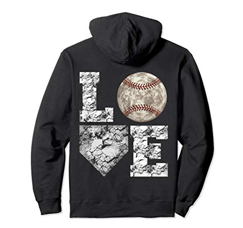 Baseball Distressed Ball Cute Mom Love Pullover Hoodie ()