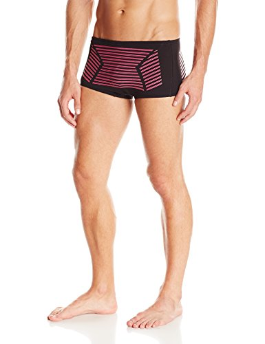 Speedo Men's Hydralign Drag Brief Swimsuit, Black/Pink, - Drag Swimsuit