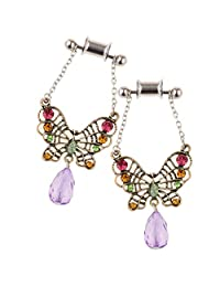Baoblaze 2 Pieces Stainless Steel Butterfly Ear Plugs Tunnel Expander Gauges Body Bar
