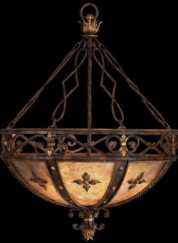 3 Light Castile (Fine Art Lamps 218142, Castile Large Bowl Pendant, 3 Light, 450 Total Watts, Gold Leaf)
