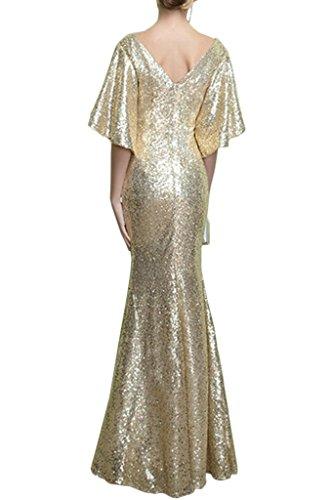Missdressy Elegant Meerjungfrau Pailette Lang V-Ausschnitt Abendkleider Ballkleider Festkleider Promkleider Partykleider