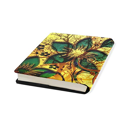 Golden Flower Stretchable Leather Book Covers Standard Size for Student Hardcover Textbooks Fits up to 9x11-Inch for School Girls Boys Gift by FeiHuang