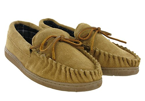 Moccasin Slippers Genuine Leather Flat Slip On Suede Outdoor Mens Tan 0r7vU
