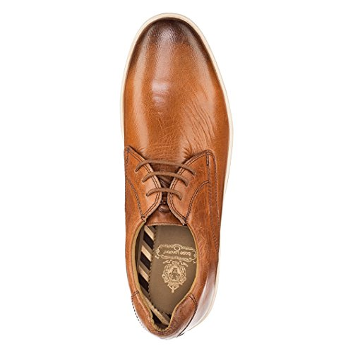 Base London Mens Concert Burnished Casual Leather Lace Up Shoes Hellbraun