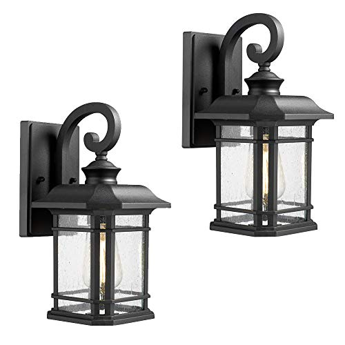 Emliviar Outdoor Wall Lanterns 2 Pack, 1-Light Exterior Wall Mount Light, Black Finish with Clear Seedy Glass, 2084B-2 BK