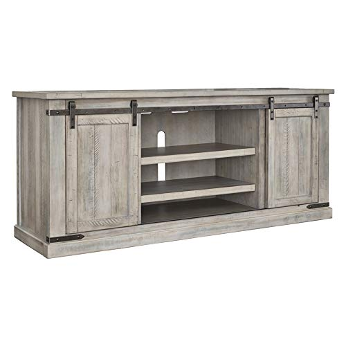 Ashley Furniture Signature Design - Carynhurst Extra Large TV Stand with Sliding Barn Doors - Whitewash