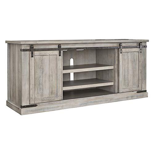 (Signature Design by Ashley W755-68 Ashley Furniture Signature Design - Carynhurst Extra Large TV Stand Sliding Barn Doors, White Wash, White Wash )